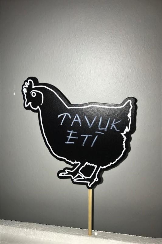 Saplamalı Tavuk Figürü Etiketi